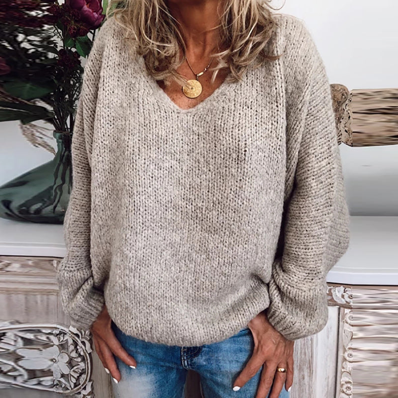 Brief V Neck Pure Color Loose Sweater