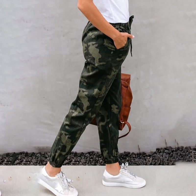Casual Camouflage Pattern Belted Pants