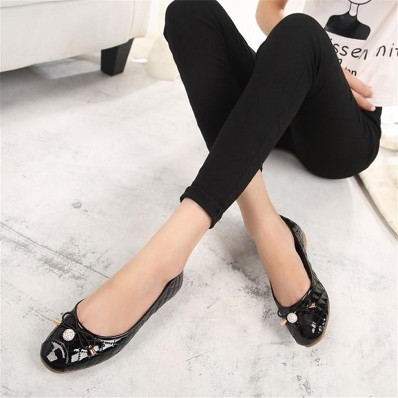 Fashion Rhinestone Metal Bow Large Size Women's Shoes Flat Bottom Wild Women's Shoes