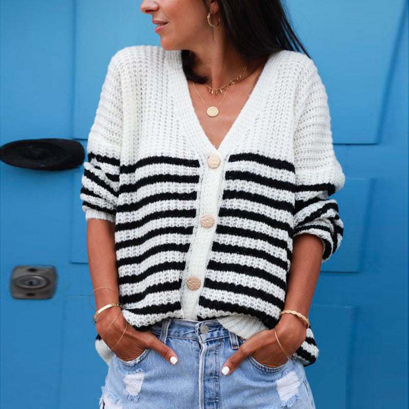 Casual striped v neck loose buttons sweater