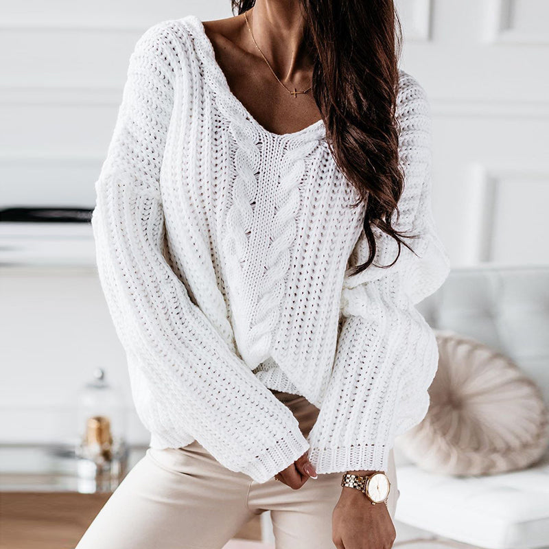 Simple V Neck Loose Pure Color Sweater