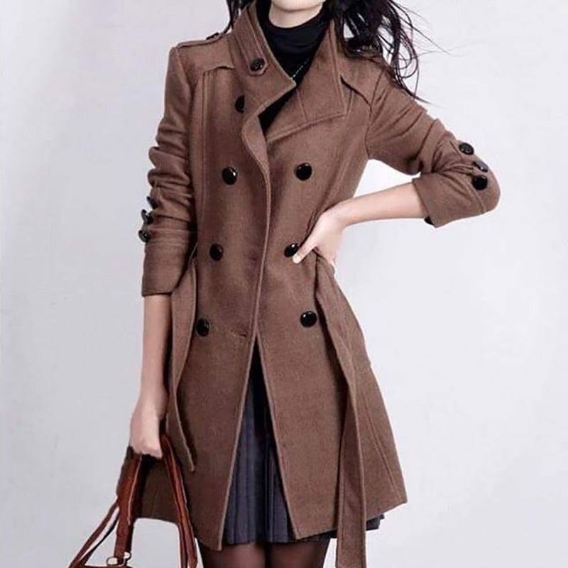 Womens Modern Fashion Solid Colour Overcoat