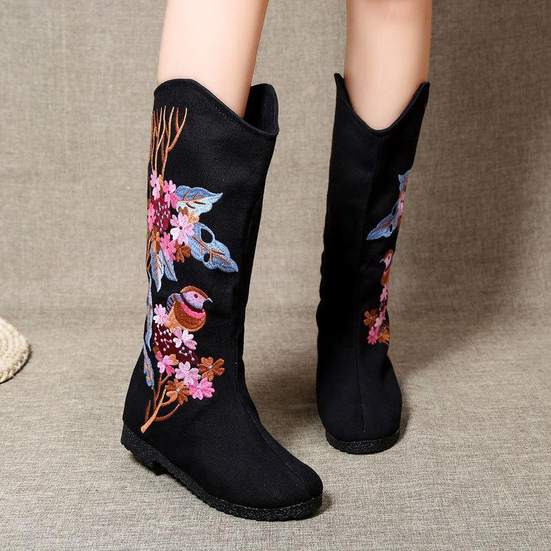 National Wind Embroidered Shoes, Retro Boots