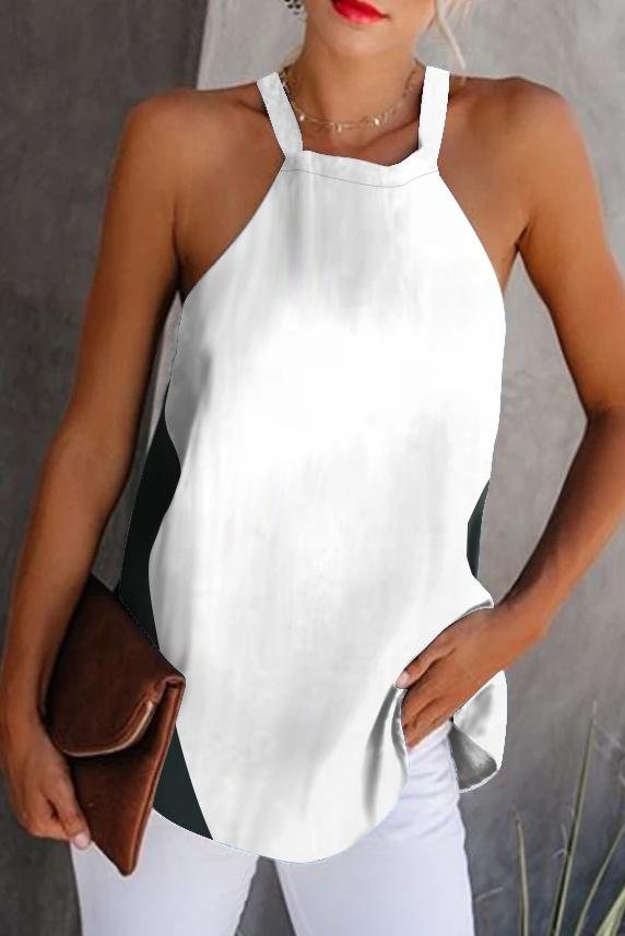 Casual Color Block Halter Vest
