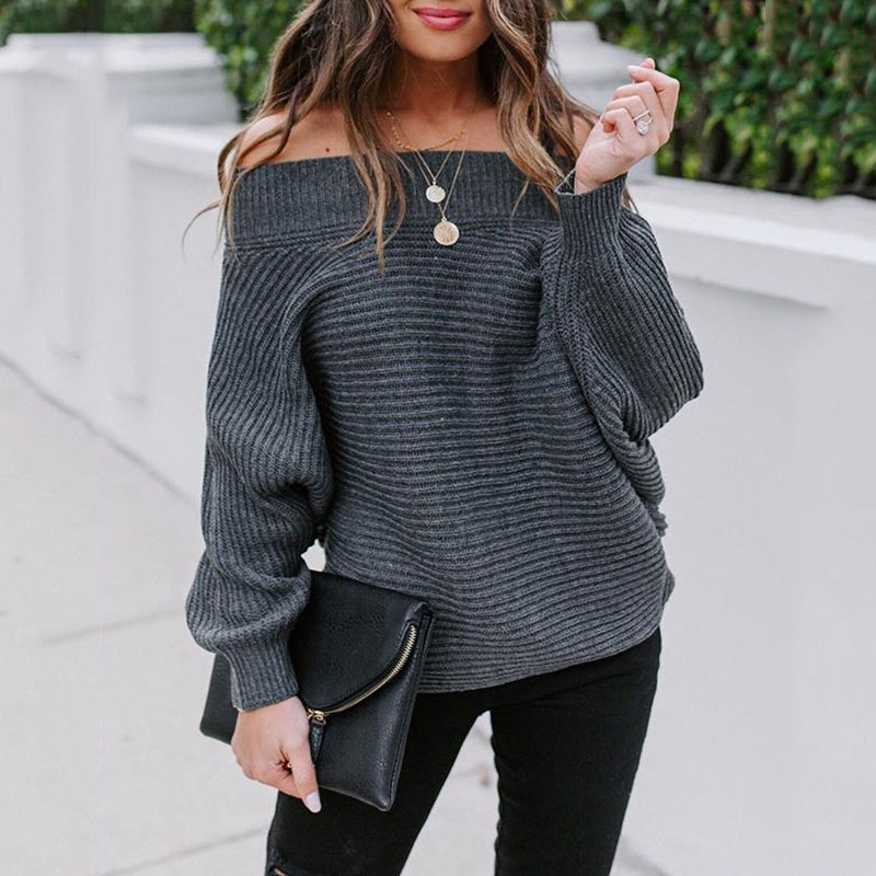 Women's Fashion Solid Color Off-Shoulder Long Sleeve Sweater