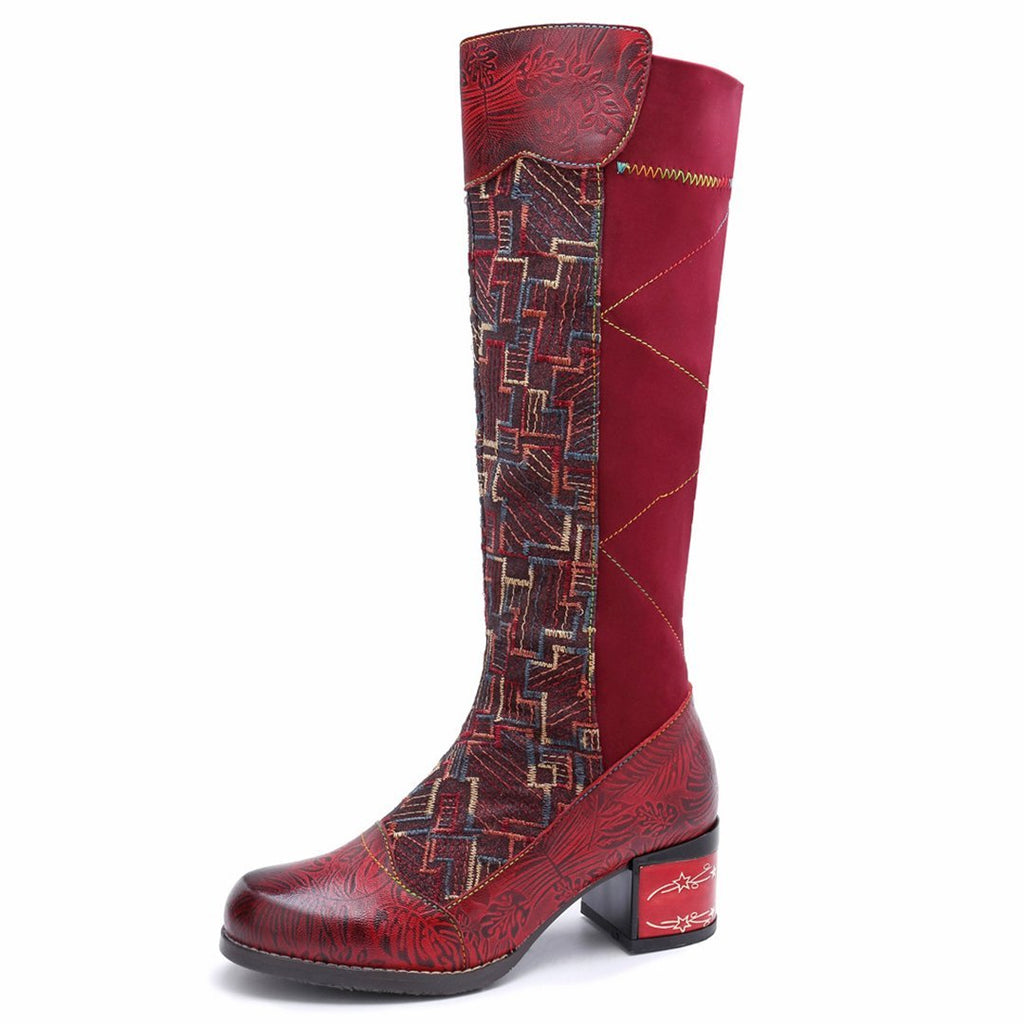 Leisure leather elastic and knee comfortable colouring boots