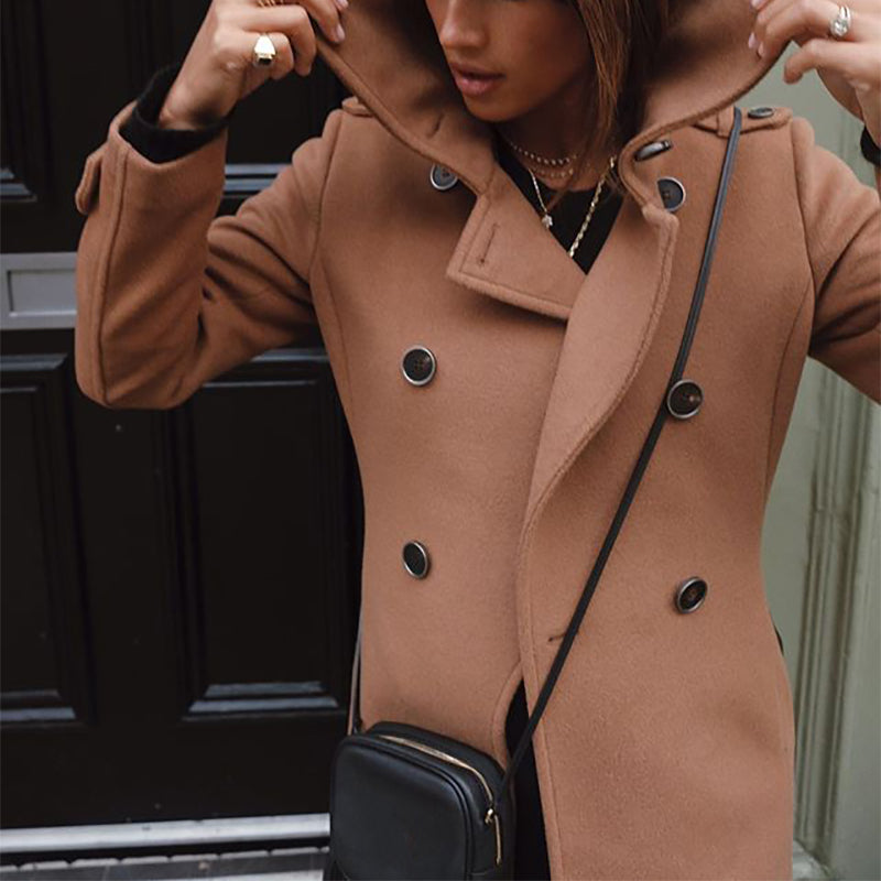 Fashion solid color lapel double breasted coat
