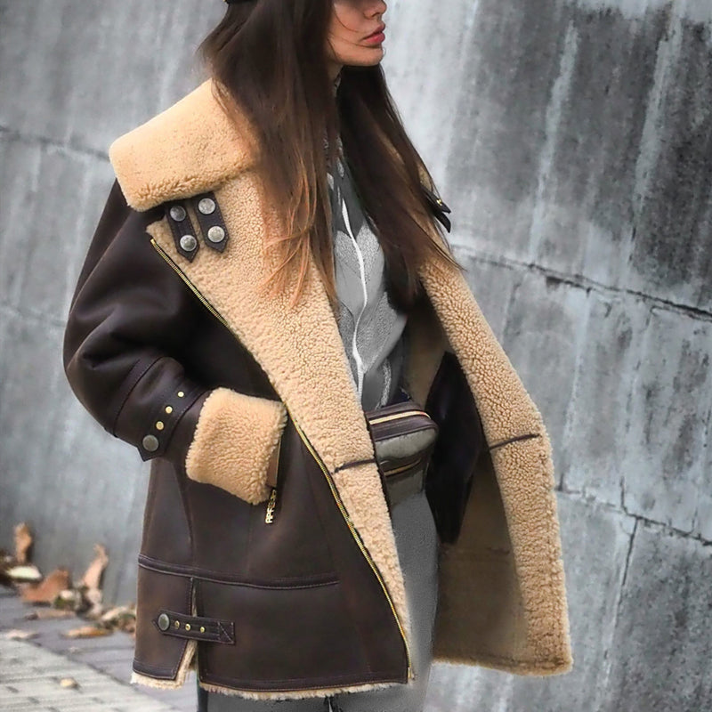 Fashion solid color lapel imitation leather coat