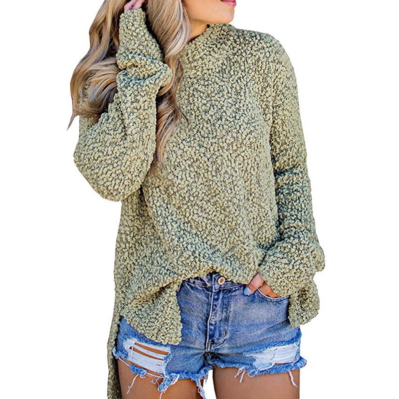 Women's Fashion Knit Half-neck Long Sleeve Sweater