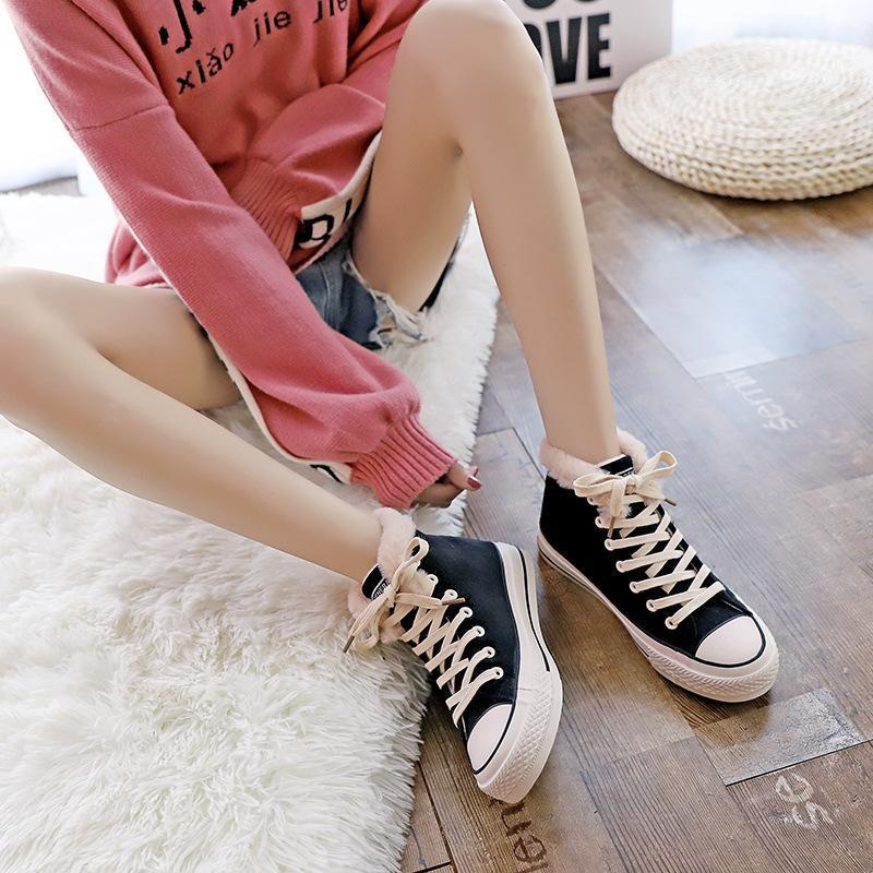 Fashion High-Help Platform Warm Canvas Lace Suede Shoes