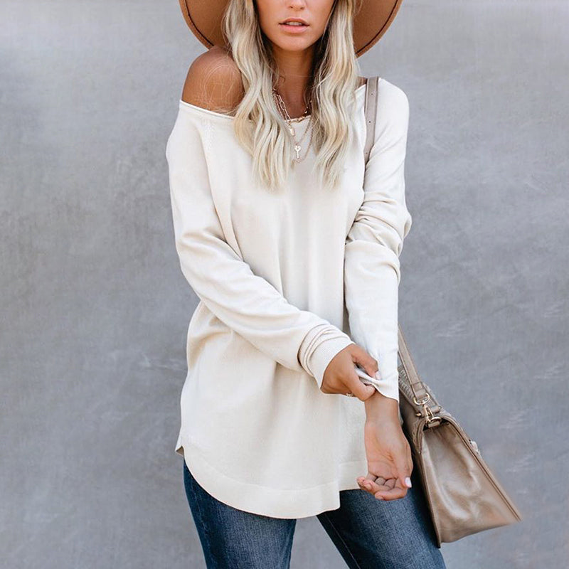 Casual Pure Color Loose Long Sleeve Midi T-Shirt