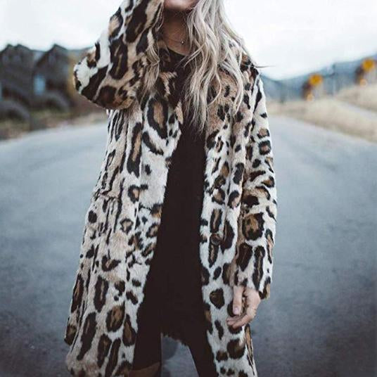 Fashion Turndown Collar Leopard Print Outerwear