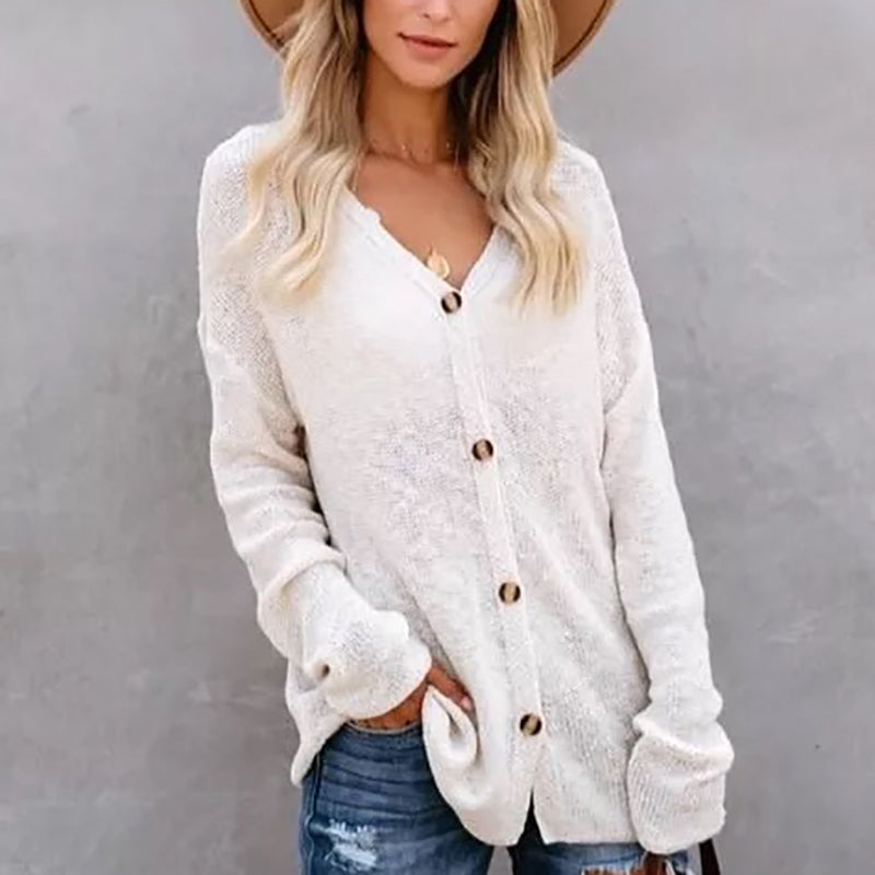 Casual V Neck Pure Colour Single-breasted Sweater