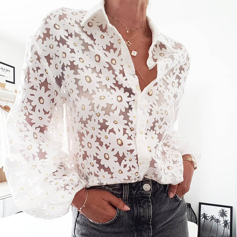 Fashion See-through Floral  Puff Sleeves Shirt