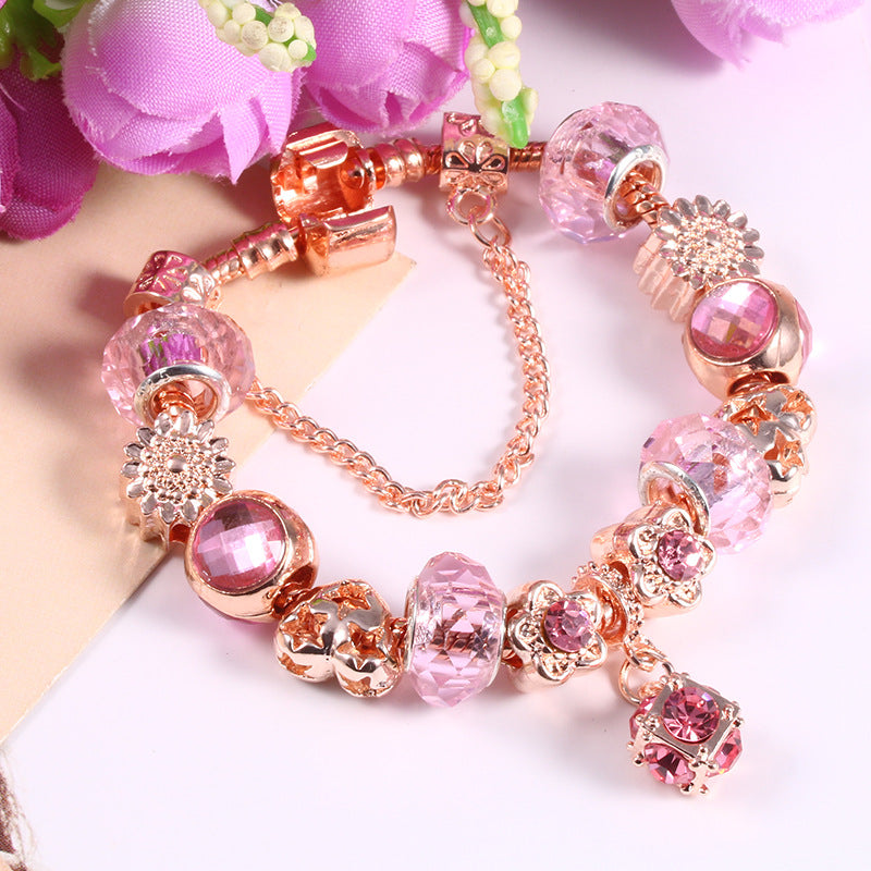 Fashion Rose Gold Flower Beaded Bracelet