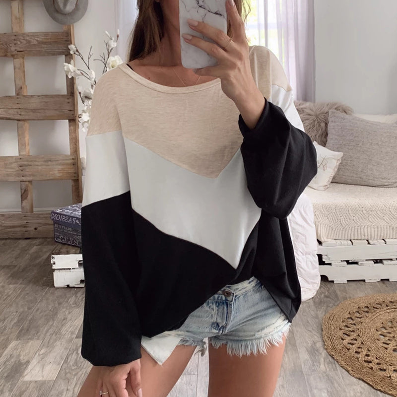 Fashion Color matching Round Neck Women's T-Shirt