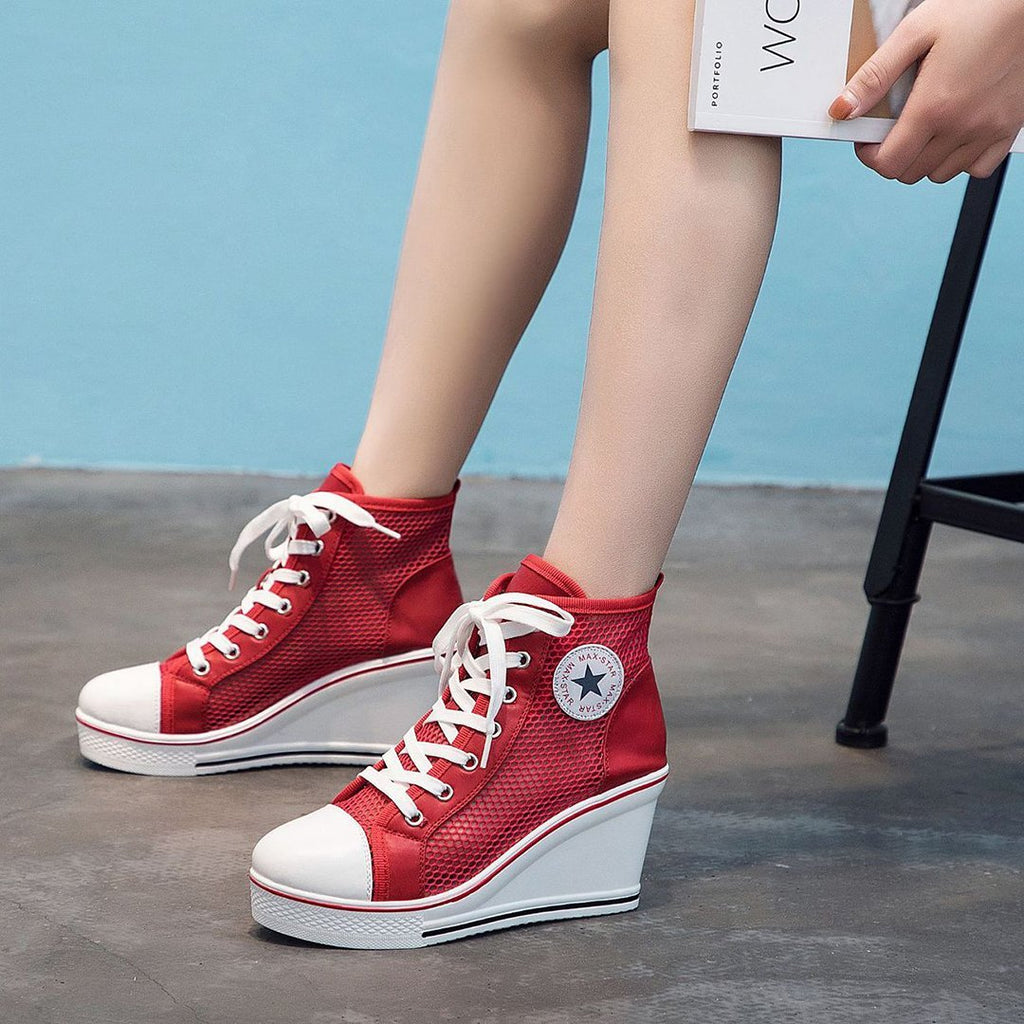 Inner raised thick bottom net yarn casual shoes with high help shoes