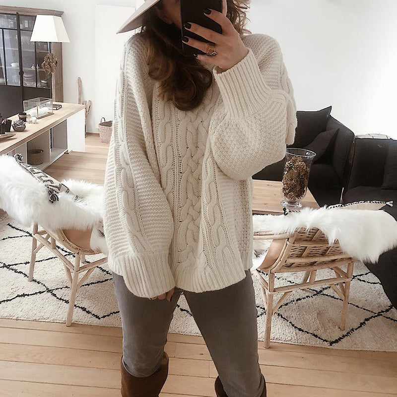 Casual Pure Color Lantern Sleeve Knitted Sweater