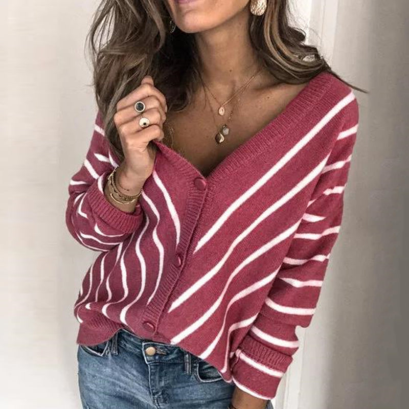 Casual Stripe V Neck Long Sleeve Sweater