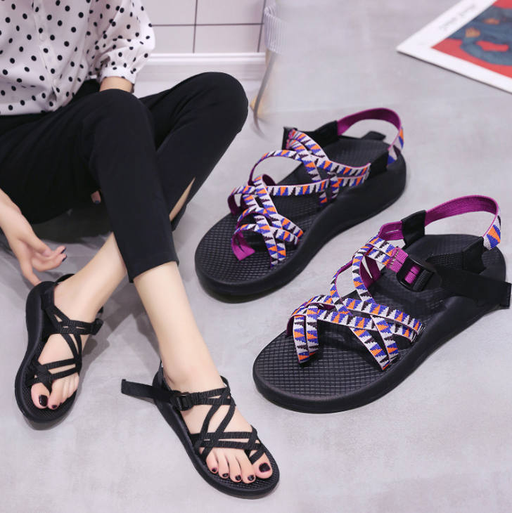 Folded beach shoes open toe flat foreign trade sandals