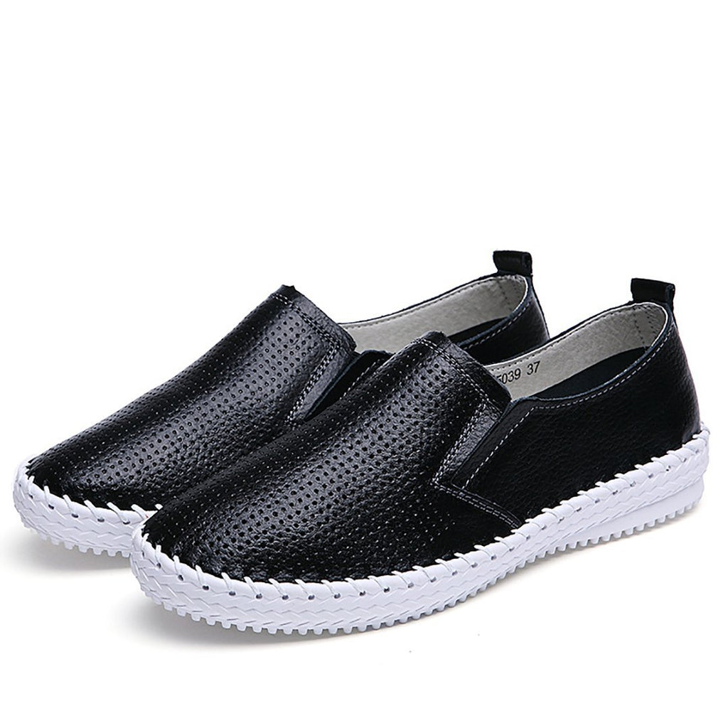 Hollow breathable leather casual flat shoes