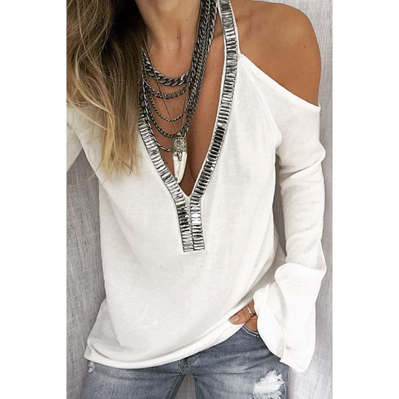 Fashion Deep V-Neck  Off-Shoulder  Sleeve T-Shirt