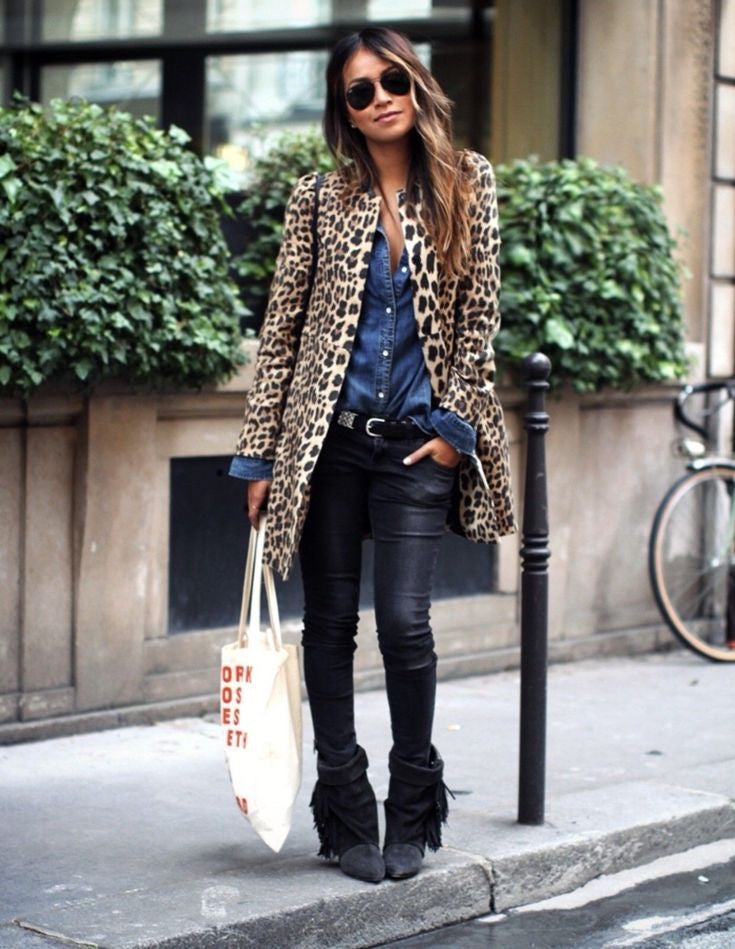 Women's Fashion Leopard Print Long Sleeve Loose Coat