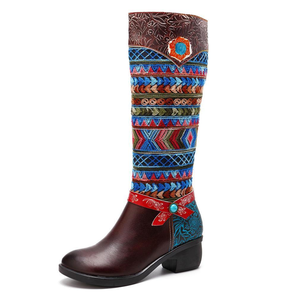 Bohemian Stitching Pattern Thick With Flat Leather Rainbow Knee Boots
