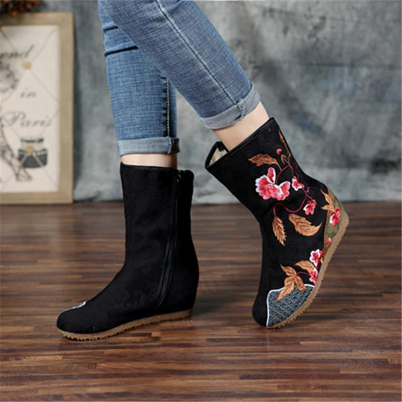 National wind embroidered shoes wedge heel warm boots