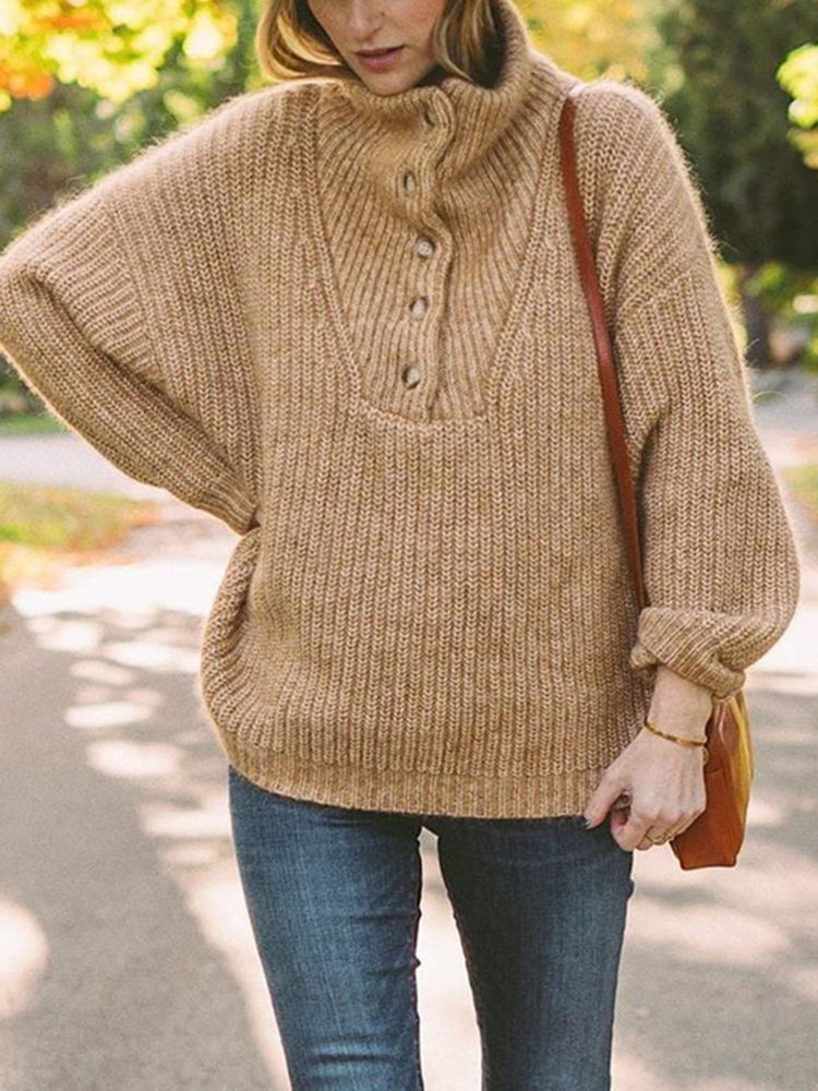 Women's Casual Single-breasted Shoulder Sleeve Brown Sweater