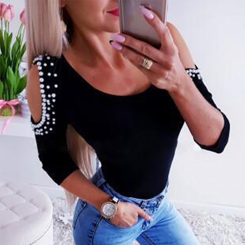 Sexy Off-shoulder Rivets Long Sleeve T-Shirt