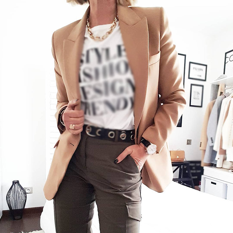 Fashion Casual Ladies Solid Color Lapel Jacket