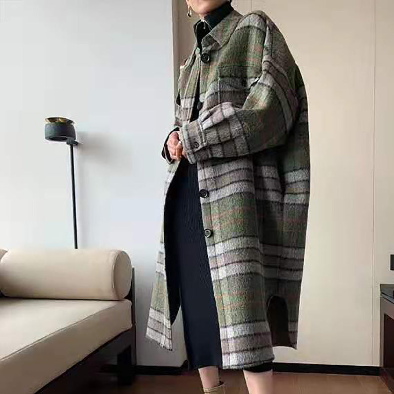 Vintage fold-over collar green plaid long-sleeved button coat