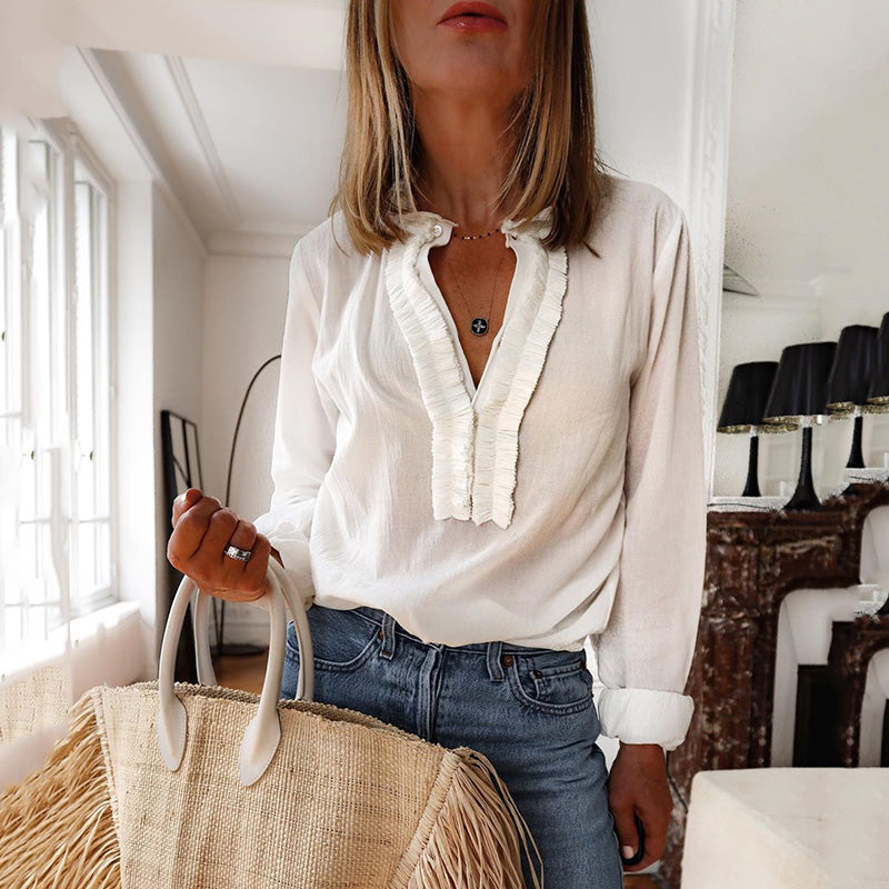 Fashion womens V-neck long-sleeved shirt