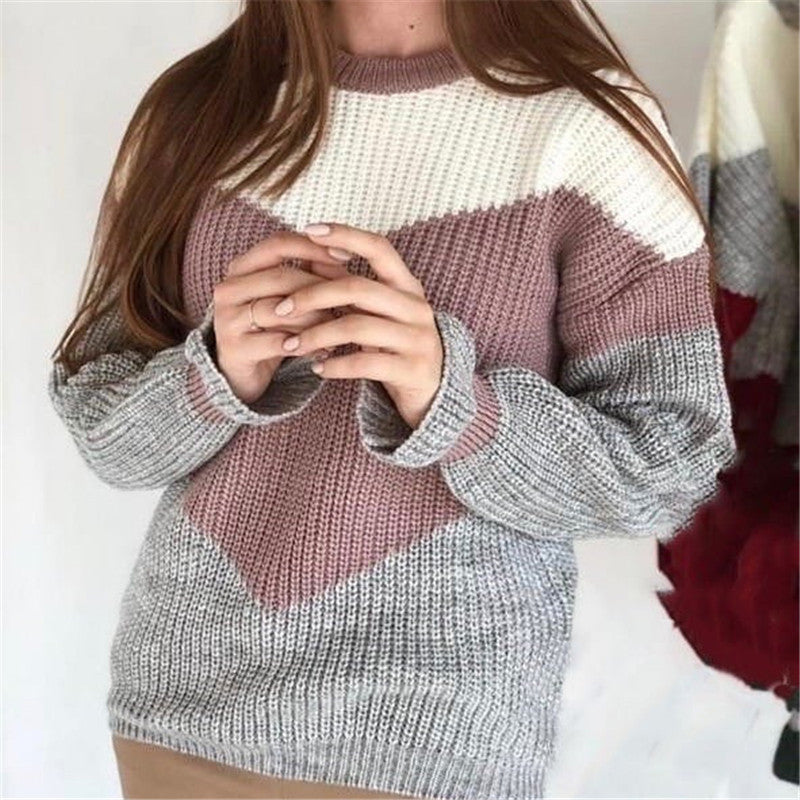 Fashion women's round neck stitching color knit sweater