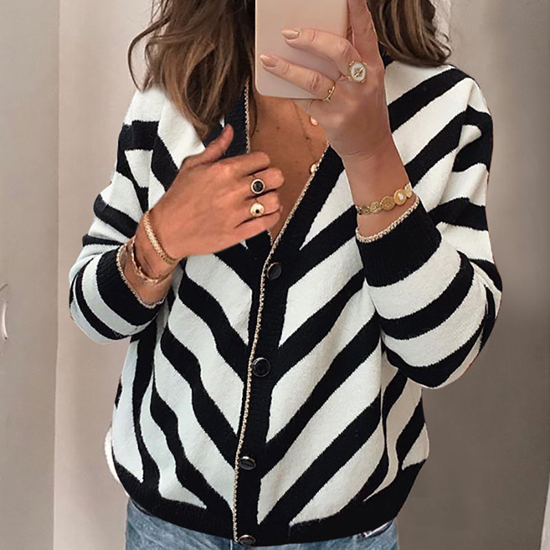 Women's Fashion Long Sleeve Striped Knit Cardigan