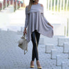 Fashion Irregular Hem Off-shoulder Long Sleeve Knit Top