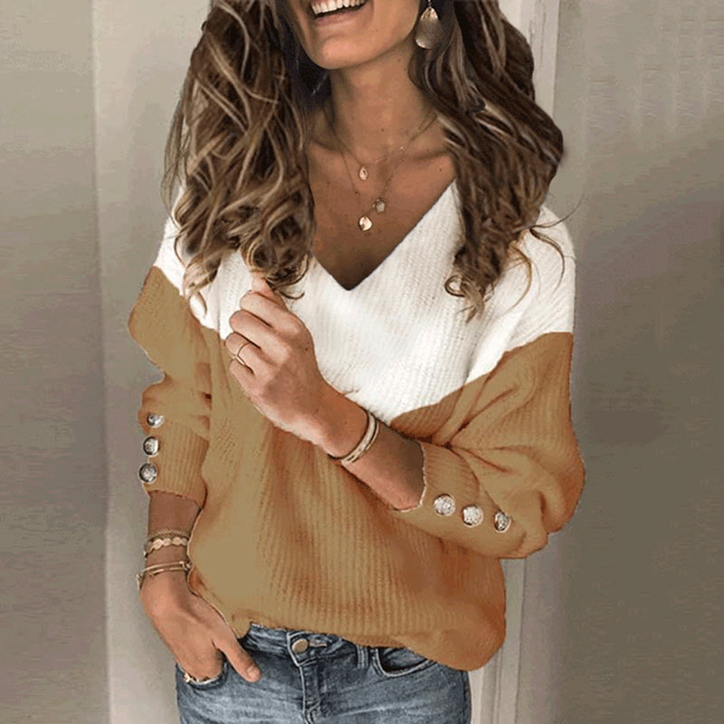 Casual V-neck color matching loose sweater