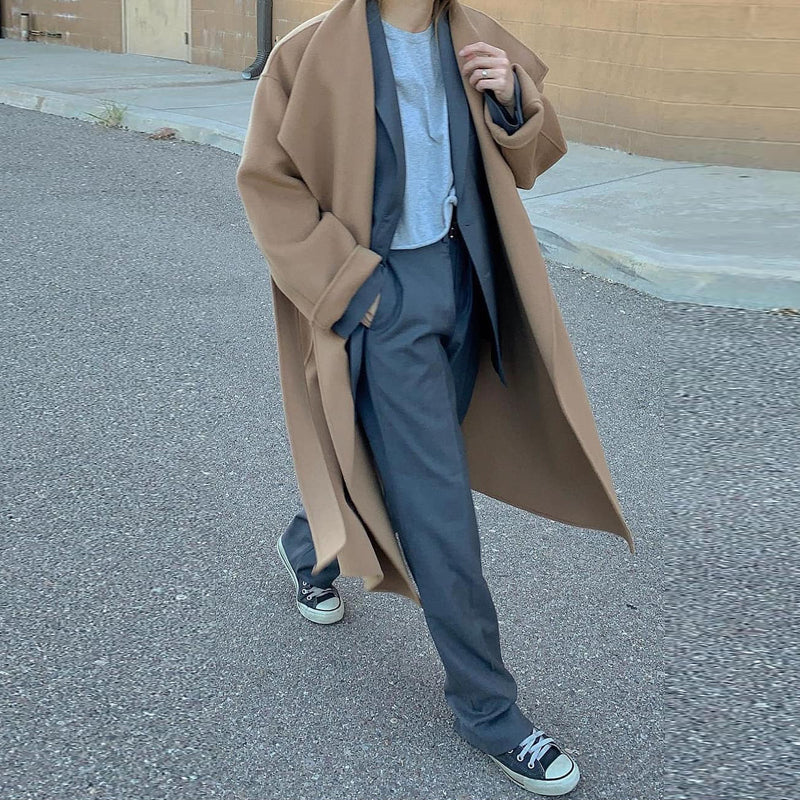 Fashion Khaki Folded Collar Plus Long Overcoat