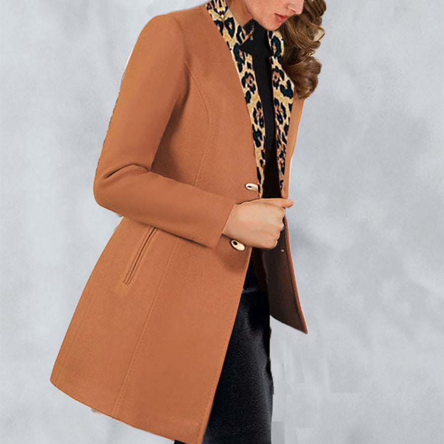 Fashion solid color spliced leopard lapel coat