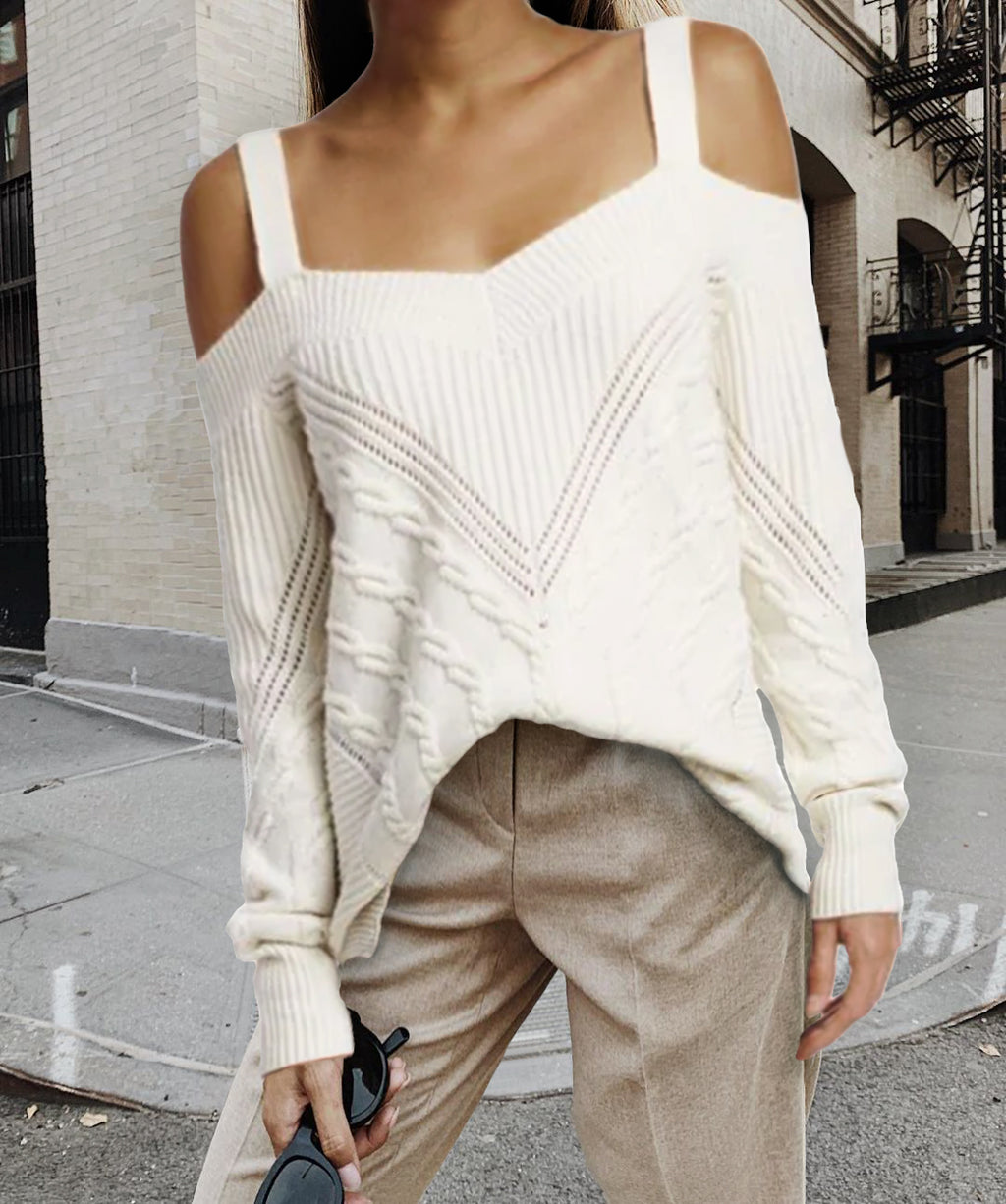Casual White Twist Sling Strapless Long Sleeve Sweater