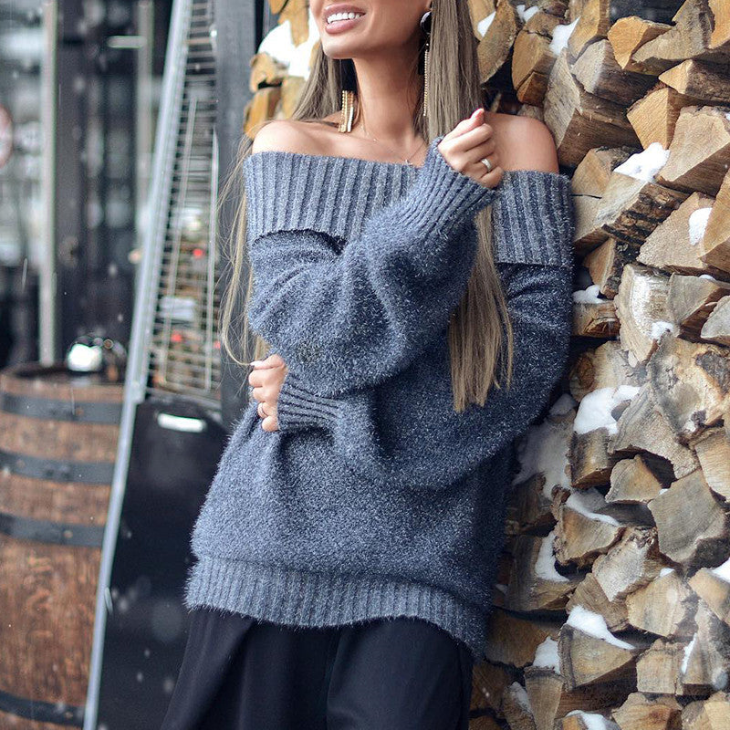 Fashion everyday word collar gray sweater