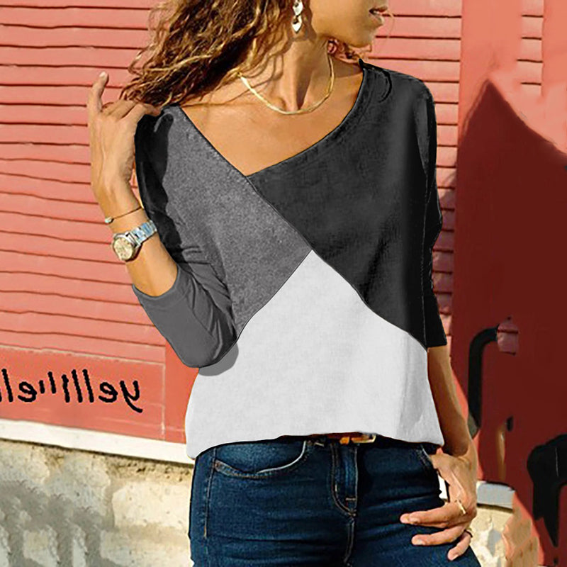 Women's Irregular Round Neck Coloring Long Sleeve Top