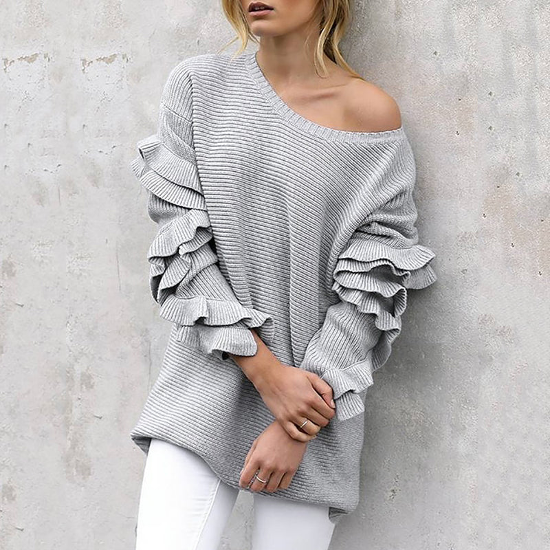 Fashion solid color round neck stitching ruffled sweater
