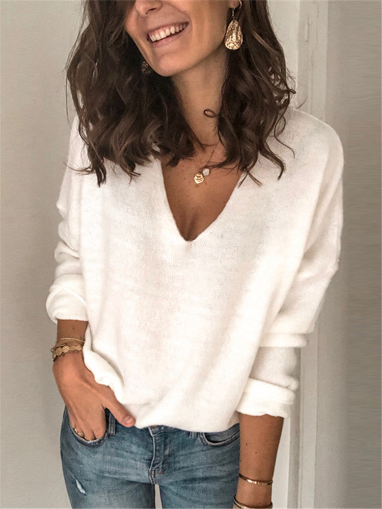Solid Color Casual V-neck Knit Top