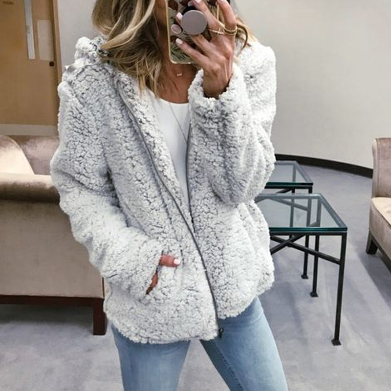V-neck Long Sleeve Light Grey Hooded Jacket