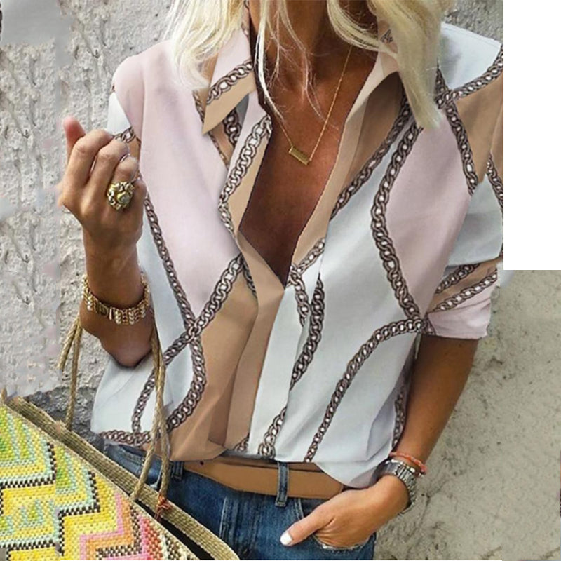 Fashionable Lapel Print Blouses