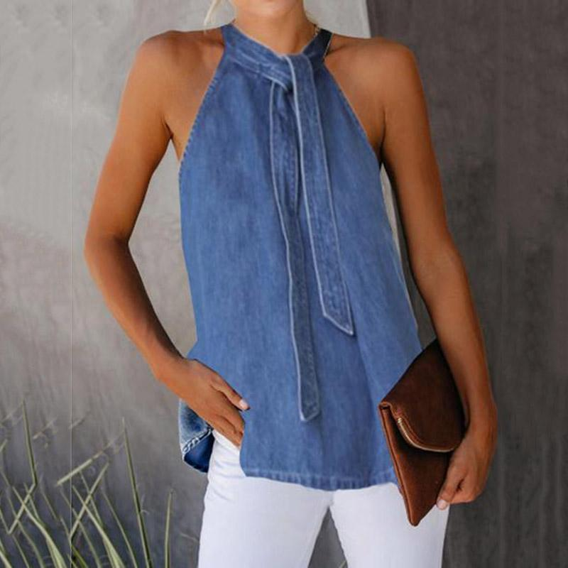Casual Lace-Up Denim Vest