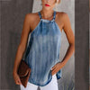 Irregular Off-Shoulder Denim Halter Vest