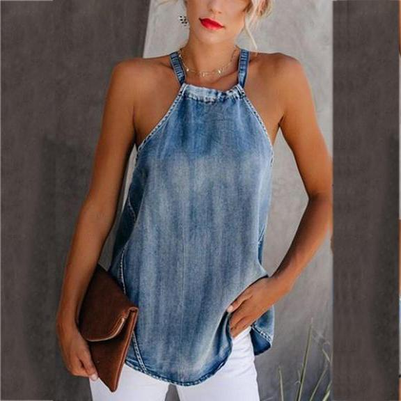Sexy Irregular Off-Shoulder Denim Halter Vest